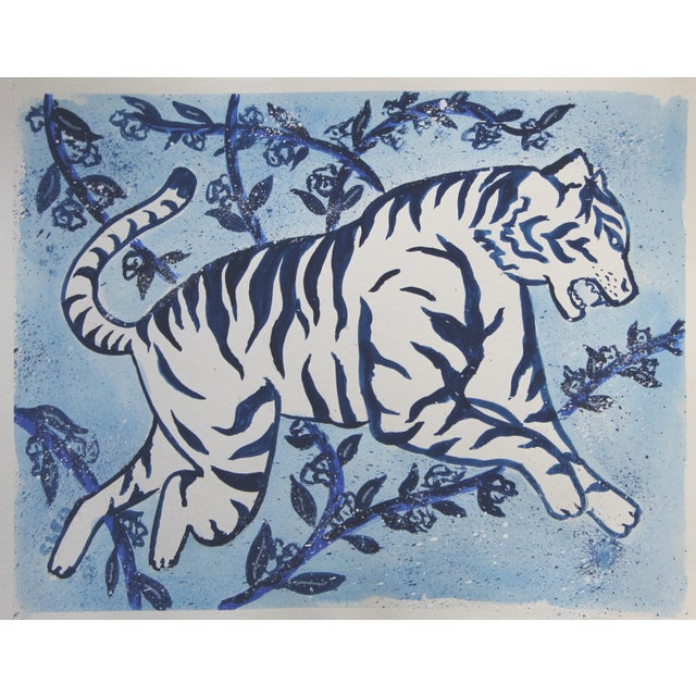 Asian Chinoiserie White Tiger Floral Painting by Cleo Plowden For Sale - Image 3 of 3