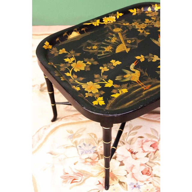 Mid 19th Century Painted Tole Tray On Faux Bamboo Stand For Sale In Raleigh - Image 6 of 7