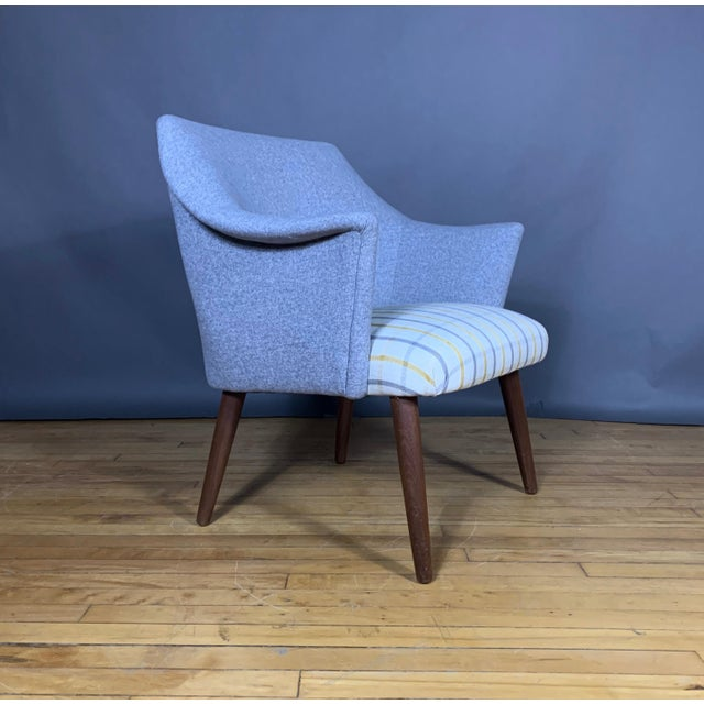 Wood Danish 1960 Armchair, New Mood Nyc Upholstery For Sale - Image 7 of 9