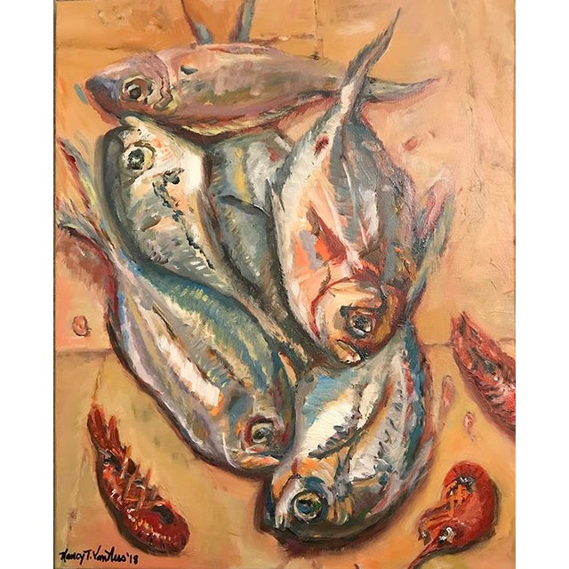 Contemporary Nancy T. Van Ness Crawfish Original Framed Oil Painting For Sale - Image 3 of 13
