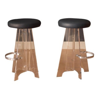 1970s Vintage Lucite and Leather Bar Stools- A Pair For Sale