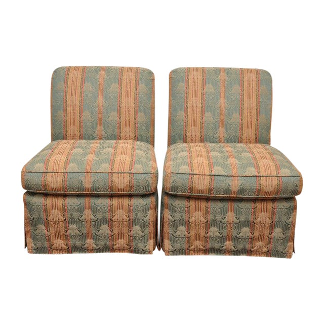 Piedmont Brunschwig & Fils Scroll Back Armless Slipper Chairs- A Pair For Sale