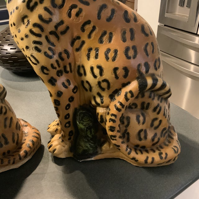 Paint 1950s Vintage Life Size Chalkware Leopards - A Pair For Sale - Image 7 of 9