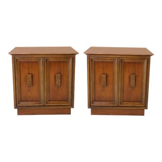 "1960's Mid-Century ""Mayan"" Abstract Handled Walnut Nightstands by Bassett Furniture - a Pair For Sale"