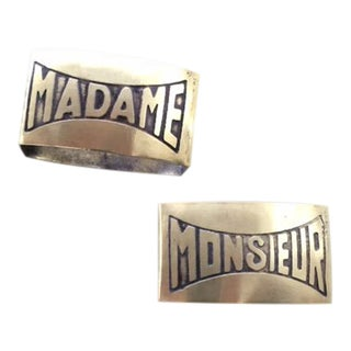 "Vintage French Brass ""Monsieur"" and ""Madame"" Napkin Rings - a Pair For Sale"