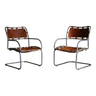 Modernist Aluminum and Saddle Leather Lounge Chairs - a Pair For Sale