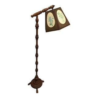 Vintage Wooden Bridge Floor Lamp For Sale