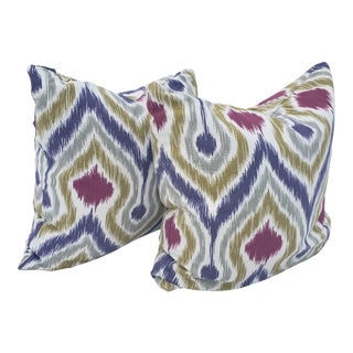 Boho Chic Design Ikat Pillows - a Pair For Sale