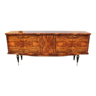 1940s French Art Deco Exotic Burl Walnut Sideboard/Buffet/Bar For Sale