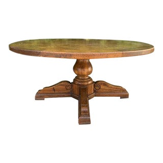 Adjustable Vintage High/Low Round Coffee/Dining Table For Sale