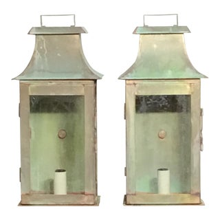Contemporary Wall Hanging Brass Lanterns - a Pair For Sale