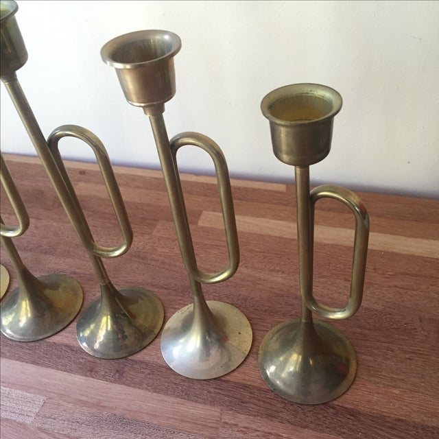 Brass Plated Bugle Candleholders - Set of 5 For Sale - Image 4 of 4
