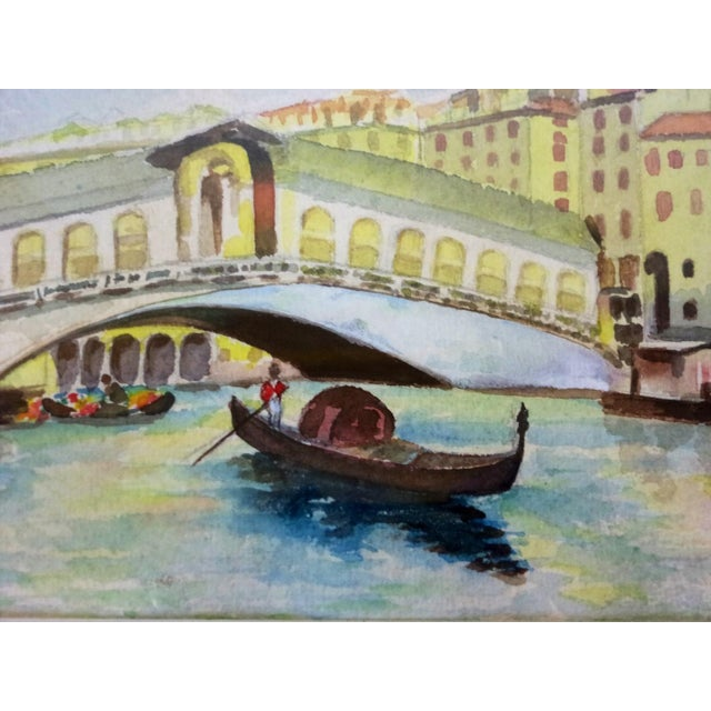 Venice Canal W/ Gondola Watercolor Painting, 1930s For Sale - Image 4 of 4