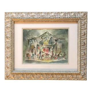 "Original Set Design Watercolor Painting ""Major Barbara"" Signed For Sale"