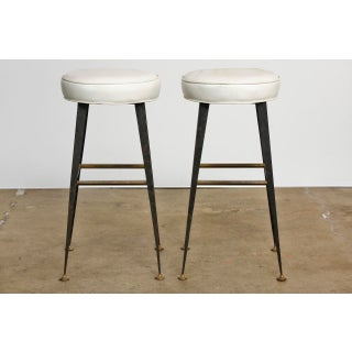 Mid-Century Industrial Iron & Vinyl Bar Stools - A Pair Preview