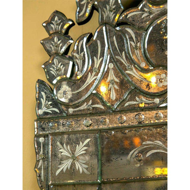Late 20th Century German Distressed Venetian Style Mirror Beautifully Cut Crest W/ Etching Detail For Sale - Image 5 of 7