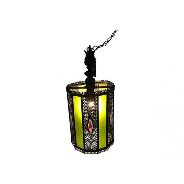 1950s Glass & Wrought Iron Pendant - Image 2 of 5