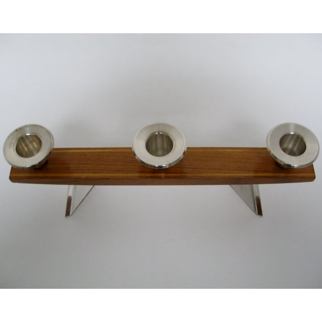 Mid 20th Century Vintage Wood & Silverplate Candleholder For Sale - Image 5 of 6
