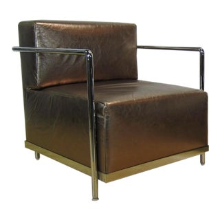 "Modern Contemporary Gold and Chrome Bernhardt ""Brellin"" Lounge Chair For Sale"