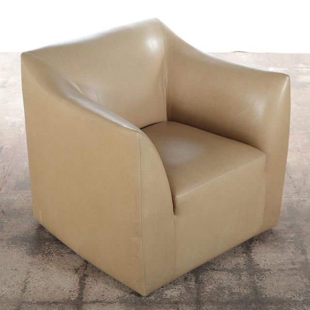 Contemporary Club Leather Chair With Ottoman -Designer For Sale - Image 3 of 10