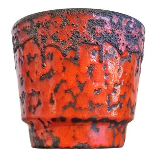 Fohr Keramik Red and Black Fat Lava Cachepot For Sale