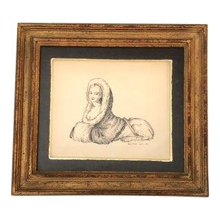 Vintage 1950's Original Ink Drawing Half Woman/ Half Lion Signed For Sale