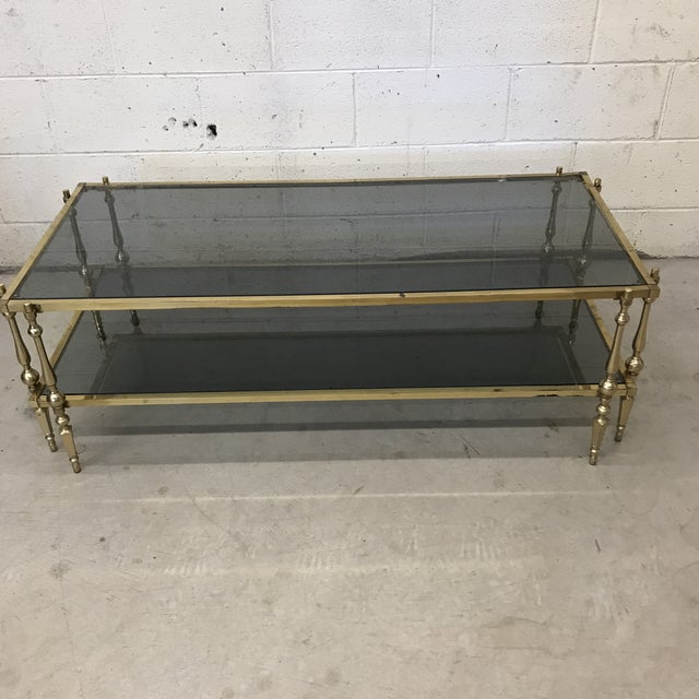 Italian Smoked Glass & Brass Coffee Table For Sale - Image 10 of 10