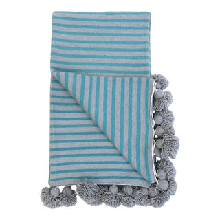 Moroccan Cotton Pom Pom Blanket For Sale