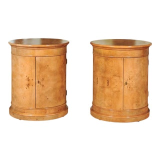 Stunning Pair of Vintage Bookmatched Olivewood Drum Cabinets by Henredon For Sale