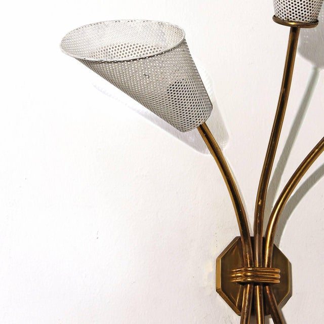 1960s 1960s Sconce In the Style of Mathieu Matégot, Brass, Perforated Metal, France For Sale - Image 5 of 6