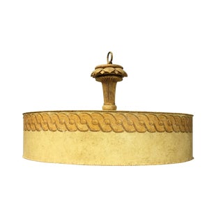 Knotted Border Lotus Carved Ceiling Light
