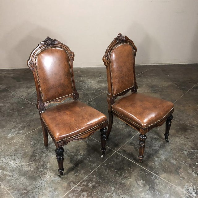 Brown Set of Eight 19th Century French Walnut Dining Chairs For Sale - Image 8 of 13