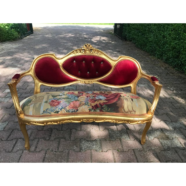 Wood French Gobelin With Burgundy/Red Velvet Louis XVI Style Sofa For Sale - Image 7 of 7