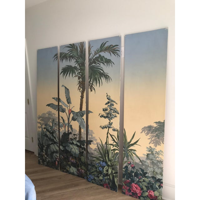 French Zuber Wallpaper Panels Mounted on Boards - Set of 4 For Sale - Image 3 of 12