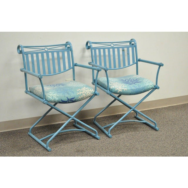 Pair of Vintage Hollywood Regency X Form Blue Iron Curule Directors Arm Chairs B - Image 10 of 11