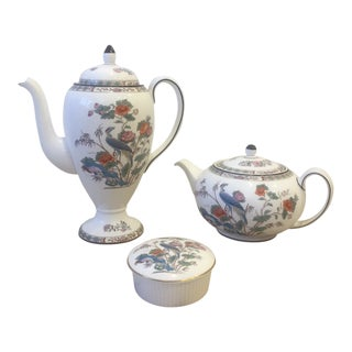 Late 19th Century Antique Wedgewood China Kutani Crane Set - 3 Pieces For Sale