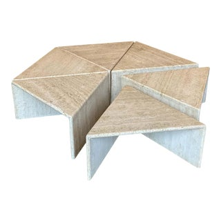 Hexagon Travertine Cocktail Table, Italy, 1970s - Set of 6 For Sale