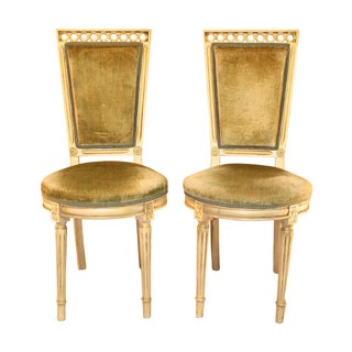 Louis Style Velvet Accent Chairs - A Pair For Sale