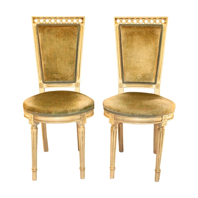 Louis Style Velvet Accent Chairs - A Pair - Image 1 of 4