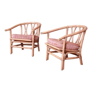 McGuire Style Organic Modern Bamboo Rattan Lounge Chairs, Pair For Sale