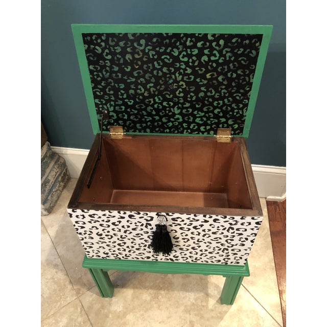 Metal Leopard Motif Black and White Chest For Sale - Image 7 of 10
