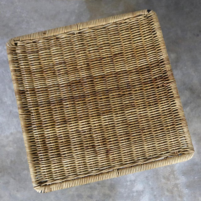 Caif-Asia Style Wrought Iron and Rattan Side Tables - A Pair For Sale - Image 11 of 13