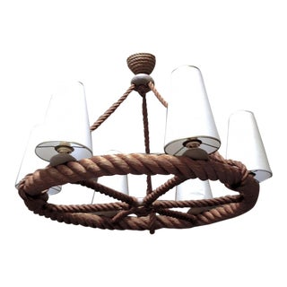 Audoux Minet French Riviera 6 Light Rope Chandelier in Good Vintage Condition For Sale