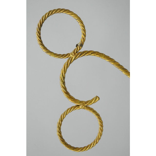"""Italian Hollywood Regency Rope Tassel Gold Iron & Travertine Table Sculpture 24"""" For Sale - Image 9 of 11"""