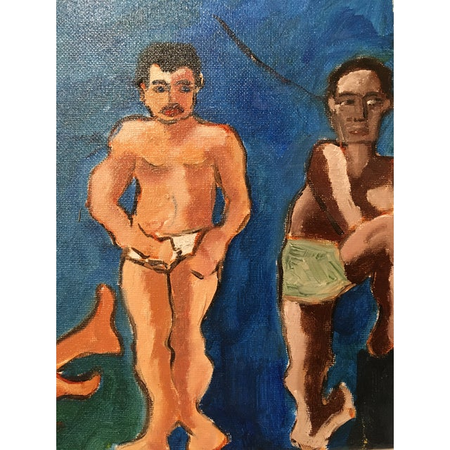 """""""The Bath House"""" Original Vintage Oil on Canvas Painting For Sale In San Francisco - Image 6 of 10"""