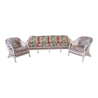 1960s Vintage White Rattan Sofa & Armchairs- Set of 3 For Sale