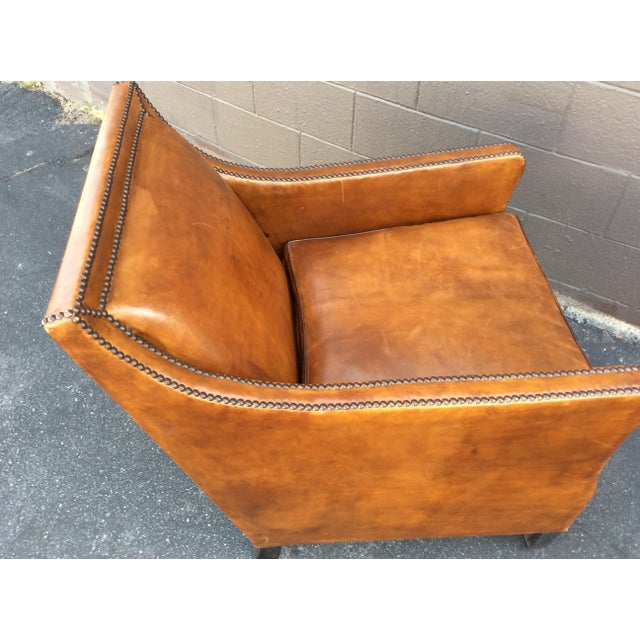 2010s Brown Leather Club Chair For Sale - Image 5 of 12