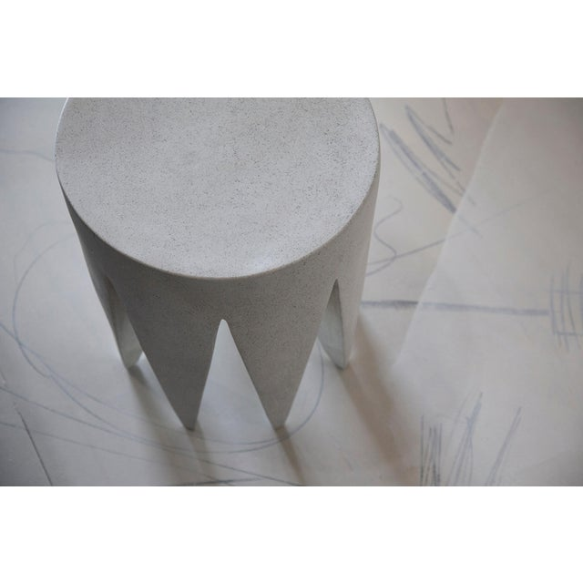 Contemporary Cast Resin 'King Me' Side Table, White Stone Finish by Zachary A. Design For Sale - Image 3 of 6
