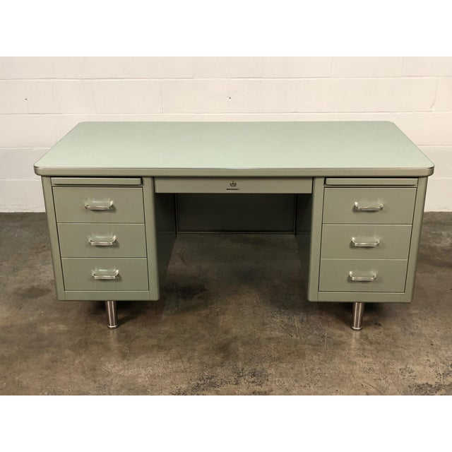 Steelcase Steelcase Mid-Century Industrial Steel Tanker Desk For Sale - Image 4 of 13