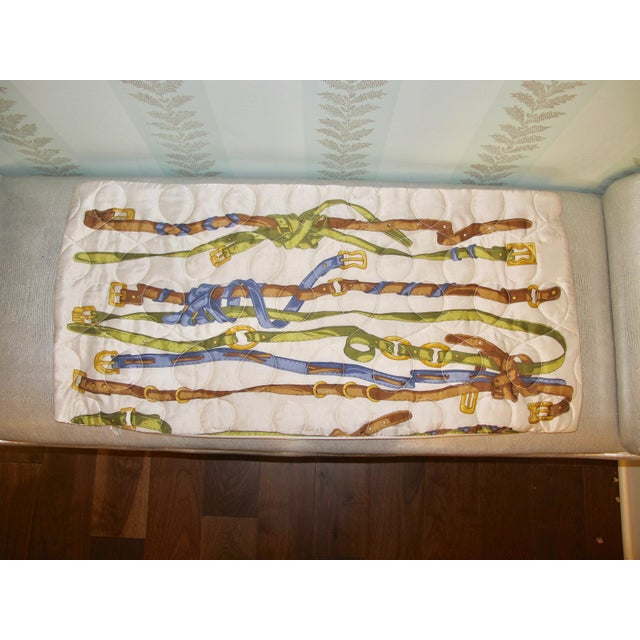 Vintage Quilted Hermes-Style Silk Scarf Pillow Envelope For Sale - Image 4 of 6